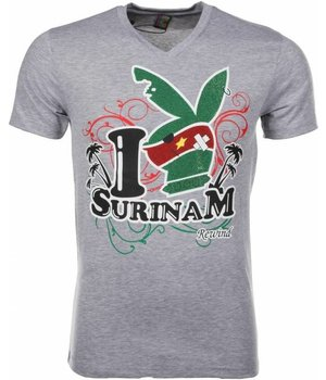 Mascherano T Shirt Herren- I Love Suriname - Grau