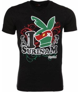 Mascherano T Shirt Herren - I Love Suriname - Schwarz
