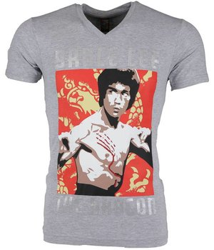 Mascherano T Shirt Herren - Bruce Lee the Dragon - Grau