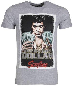 Mascherano T Shirt Herren - Scarface Get Every Dollar - Grau