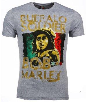 Mascherano T Shirt Herren - Bob Marley Buffalo Soldier Print - Grau