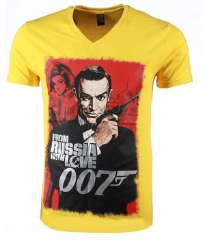 Mascherano T Shirt Herren - James Bond From Russia 007 Print - Gelb