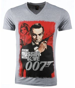 Mascherano T Shirt Herren - James Bond From Russia 007 Print - Grau