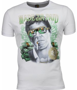 Mascherano T Shirt Herren - Scarface Made To Get Paid Print - Weiß