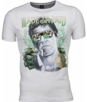 Mascherano T Shirt Herren - Scarface Made To Get Paid Print - Weiß