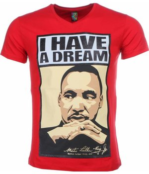 Mascherano T Shirt Herren - Martin Luther King I Have A Dream Print - Rot