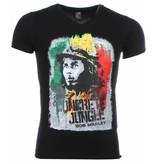 Mascherano T Shirt Herren - Bob Marley Concrete Jungle Print - Schwarz
