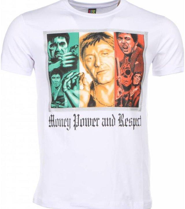 Mascherano T Shirt Herren - Scarface Money Power Respect Print - Weiß
