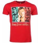 Mascherano T Shirt Herren - Scarface Money Power Respect Print - Rot