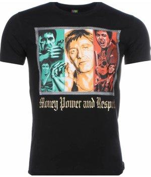 Mascherano T Shirt Herren - Scarface Money Power Respect Print - Schwarz