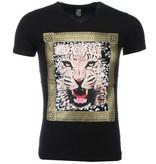 Mascherano T Shirt Herren - Tiger Druck-  Schwarz