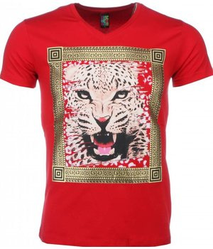 Mascherano T Shirt Herren - Tiger Druck - Rot