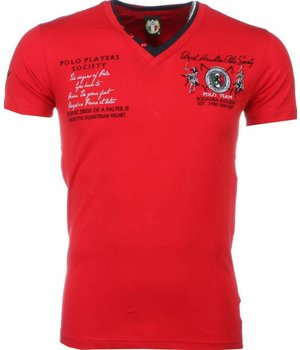 David Mello Italienische T Shirt Herren - Stickerei Polo Players - Rot