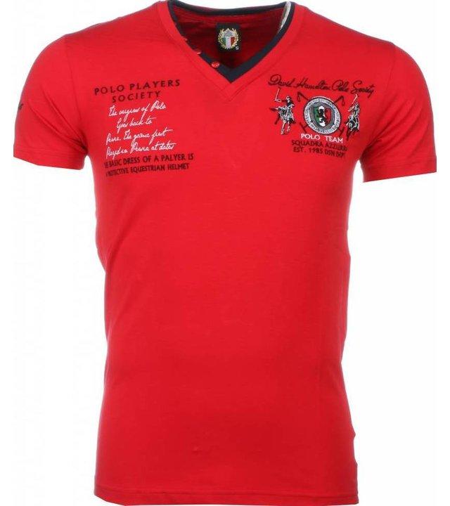 David Mello Italienische T Shirt Herren - Stickerei Polo Players - Rot