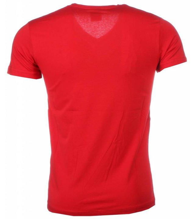 David Mello T Shirt Herren - Blanco - Rot