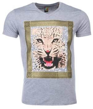 Mascherano T Shirt Herren  - Tiger Print - Grau
