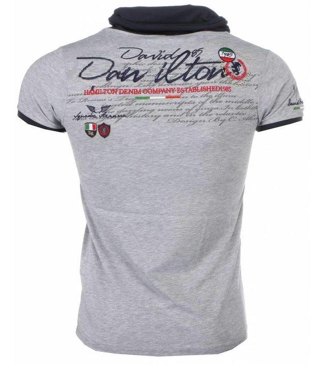 David Mello Italienische T Shirt Herren - Schalkragen - Royal Club - Grau