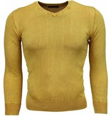 Brother-F Casual Pullover- Exclusive Blanco V-Hals - Gelb