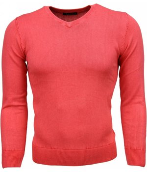 Brother-F Casual Pullover- Exclusive Blanco V-Hals - Rosa/Rot