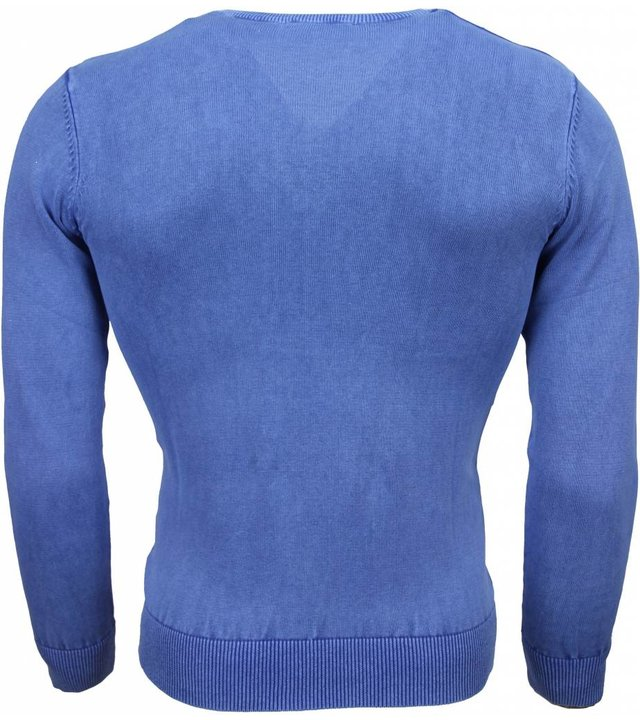 Brother-F Casual Pullover- Exclusive Blanco V-Hals - Blau