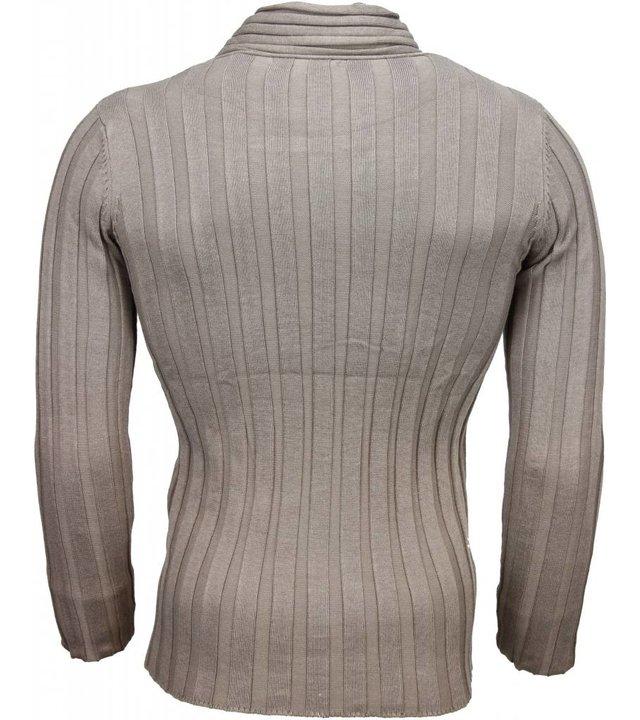 Belman Casual Pullover - Schalkragen Design Streifen Motiv - Beige