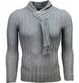 Belman Casual Pullover - Schalkragen Design Streifen Motiv - Dunkelgrau