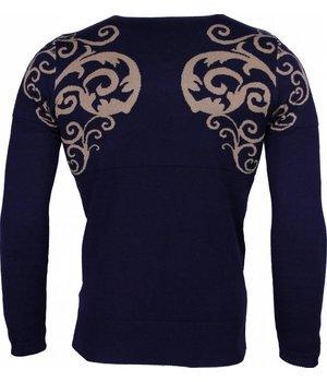 Lucky Life Casual Pullover - Tattoo Motiv Stickerei Herren - Blau