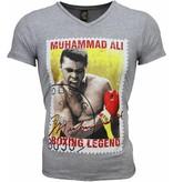 Mascherano T Shirt Herren - Muhammad Ali Siegel Print - Grau