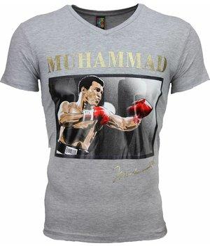 Mascherano T Shirt Herren - Muhammad Ali Glänzend Print - Grau