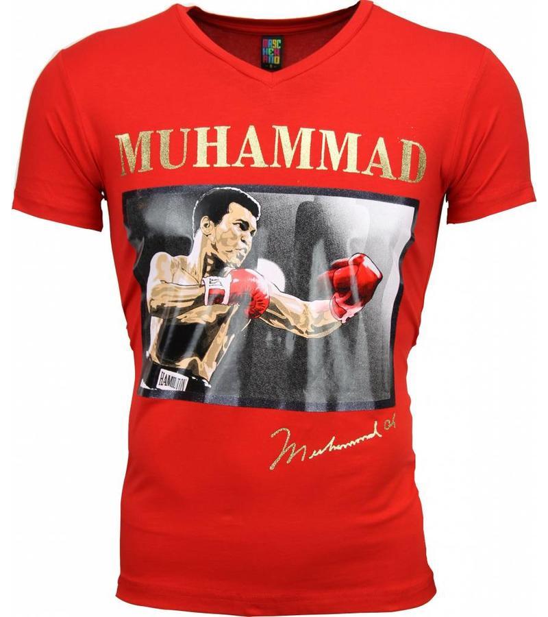 Mascherano T Shirt Herren - Muhammad Ali Glänzend Print - Rot