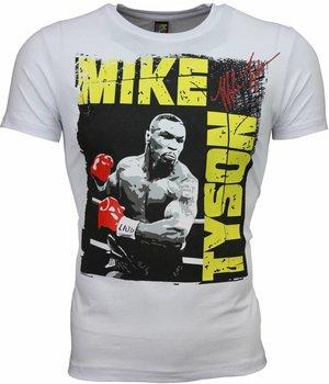 Mascherano T Shirt Herren - Mike Tyson Glänzend Print - Weiß