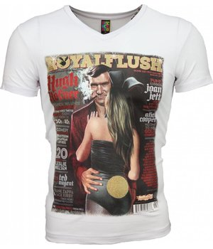 Mascherano T Shirt Herren - Royal Flush Glänzend Print - Weiß