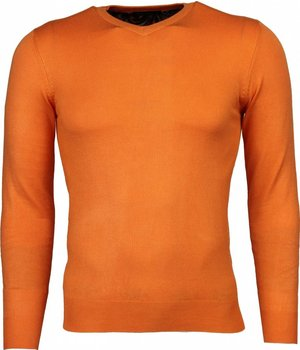 Bruno Leoni Casual Pullover- Blanco V-Hals - Orange