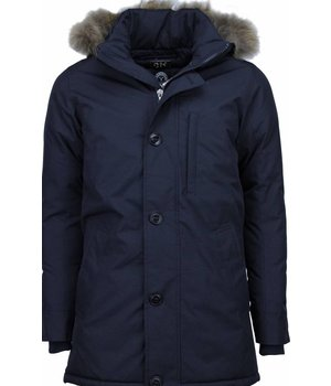 Y chromosome Jacken mit Fellkragen - Winterjacken Herren Lange - Exclusive Parka SLIM FIT - Dunkelblau