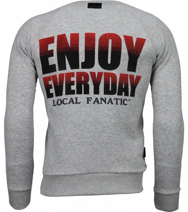 Local Fanatic Bilzerian - Strass Sweatshirt - Grau