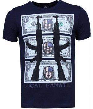 Local Fanatic AK-47 Dollar - Strass T Shirt Herren - Marine Blau