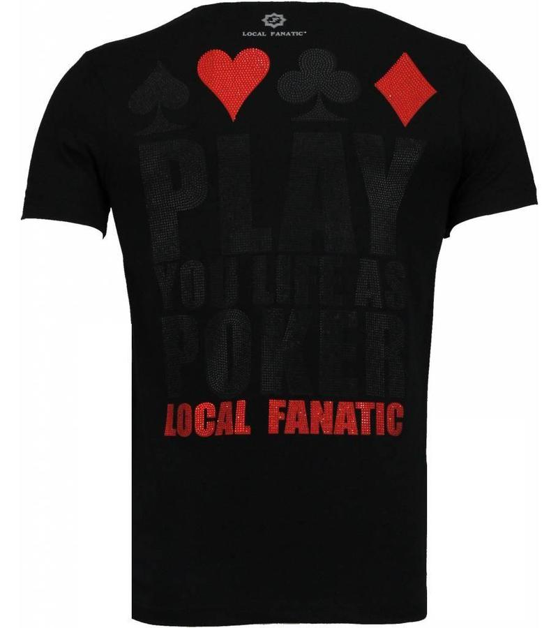Local Fanatic Hot & Famous Poker - Bar Refaeli Strass T Shirt - Schwarz
