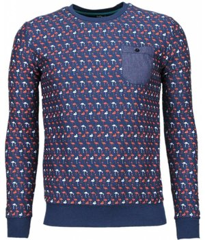 Black Number Flamingo - Sweatshirt- Dunkel Blau