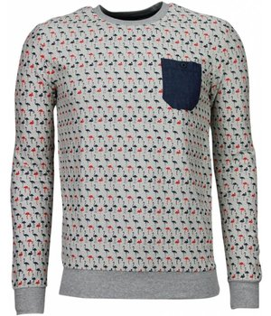 Black Number Flamingo - Sweatshirt - Grau