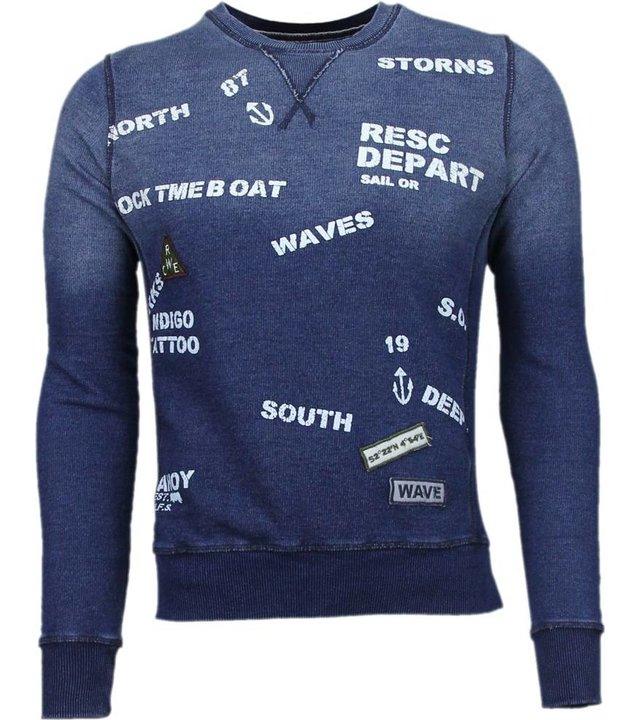 Bread & Buttons Crew Text Stickerei - Sweatshirt - Blau