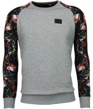 Local Fanatic Rosen Skull Arm Motiv - Sweatshirt - Grau