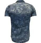 Enos Jeanshemd Herren - Slim Fit - Armee Motiv - Blau