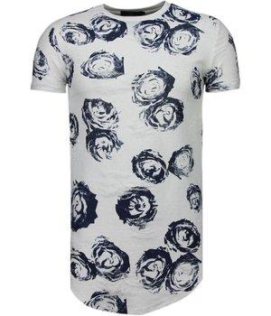 John H Blau Rosen Print - T Shirt Herren - Weiß