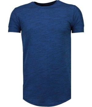 Tony Brend Ärmel Rippe - T Shirt Herren - Marine Blau