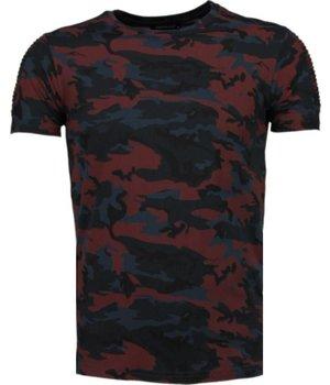 Tony Brend Camouflage Print Rippe - T Shirt Herren - Bordeaux
