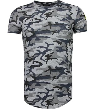 Berry Denim Armee Druck Stickerei - T Shirt Herren - Grau