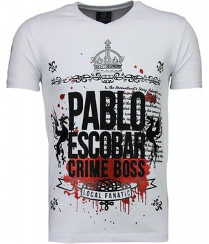 Local Fanatic Pablo Escobar Boss - Strass T Shirt Herren - Weiß