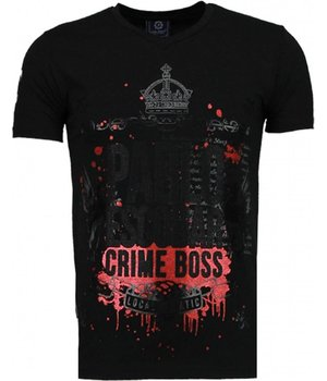 Local Fanatic Pablo Escobar Boss - Strass T Shirt Herren - Schwarz