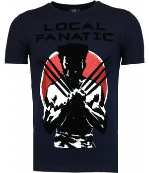 Local Fanatic Wolverine - Flockprint T Shirt Herren - Marine Blau