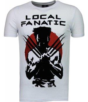 Local Fanatic Wolverine - Flockprint T Shirt Herren - Weiß